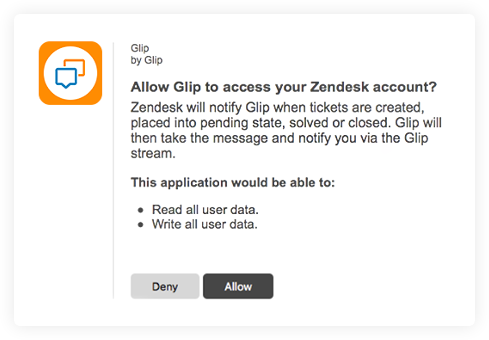 Glip integration with Zendesk
