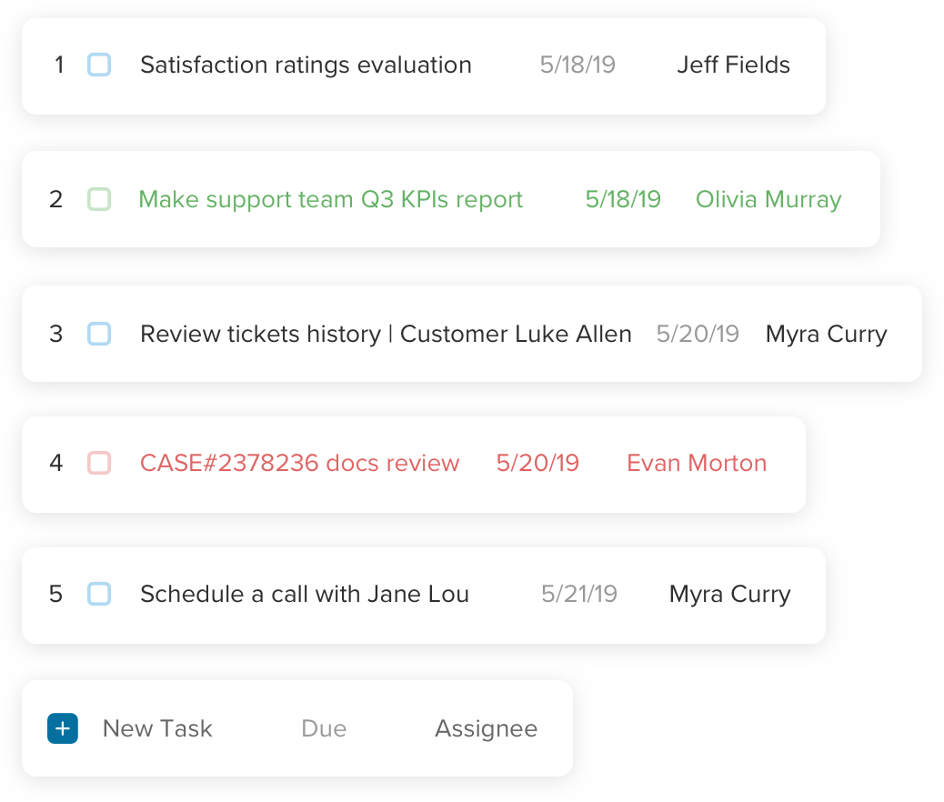 Assign and track tasks with your support team